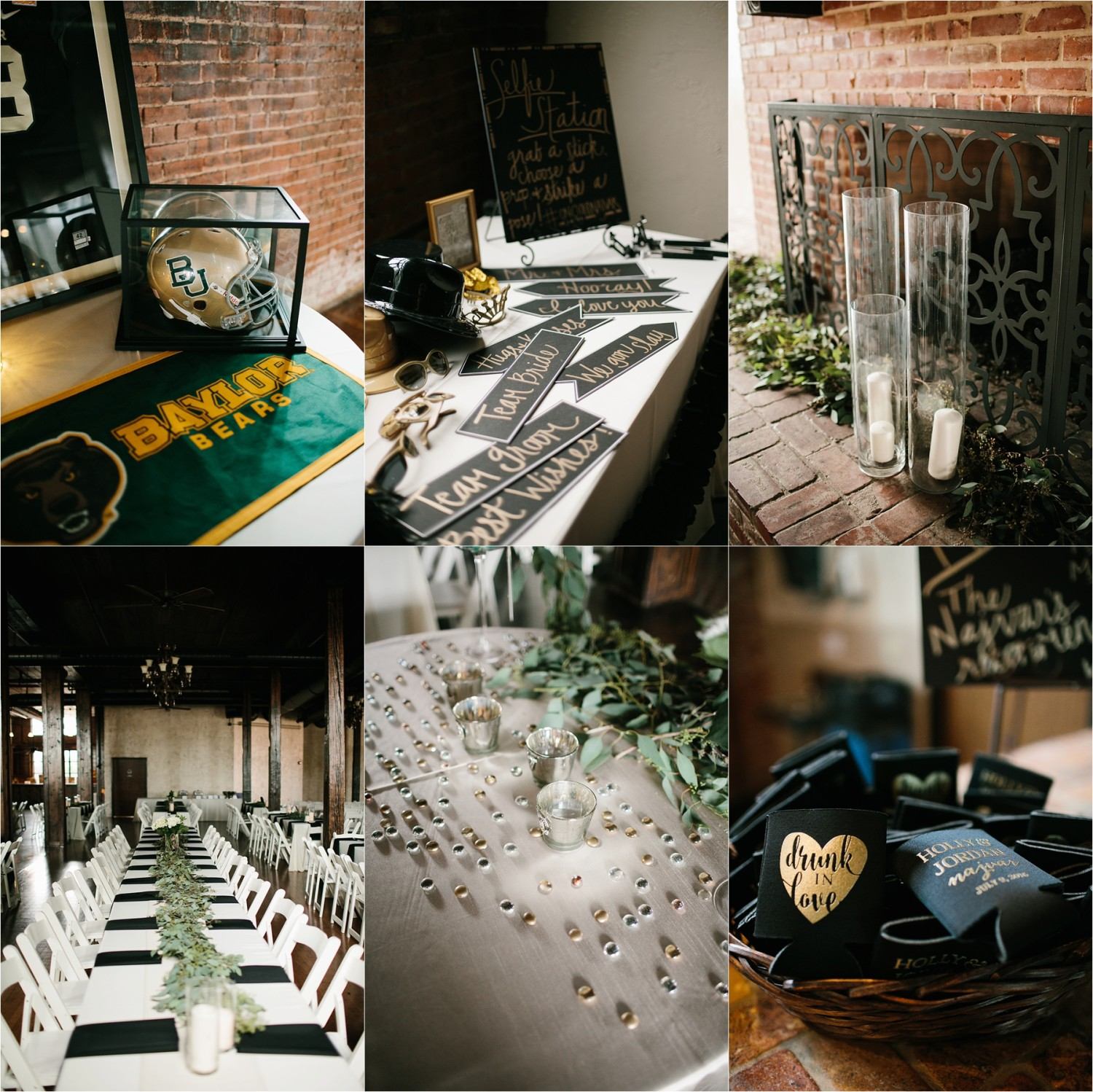 Holly + Jordan __ a black, gold, and greenery organic wedding at The Phoenix Ballroom in Waco, TX by North Texas Wedding Photographer Rachel Meagan Photography __ 13