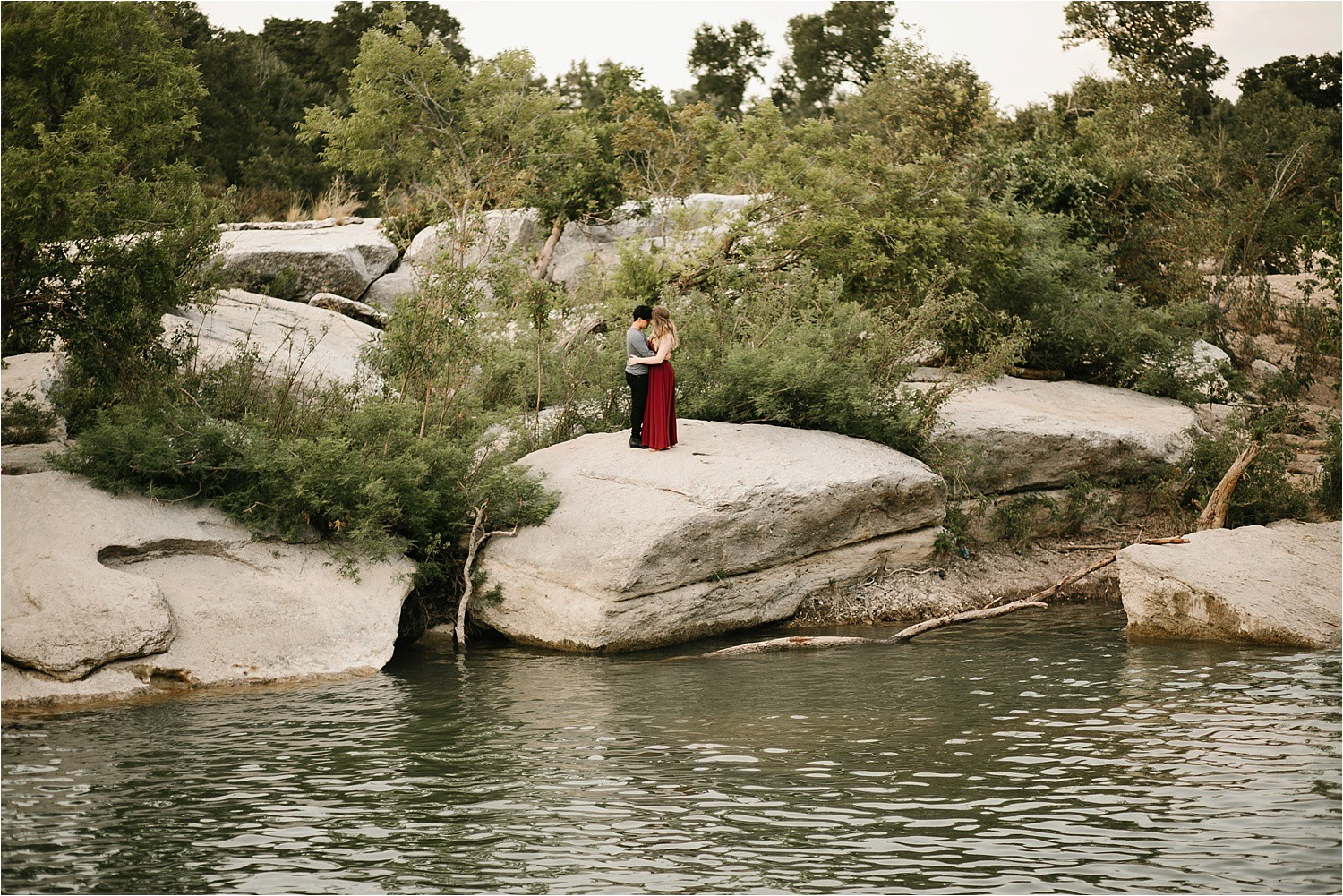 Romantic Austin, Texas Engagement Session with outfit inspiration + flowy red dress from Lulu's at Mckinney Falls State Park by North Texas Wedding Photographer, Rachel Meagan Photography __ 25