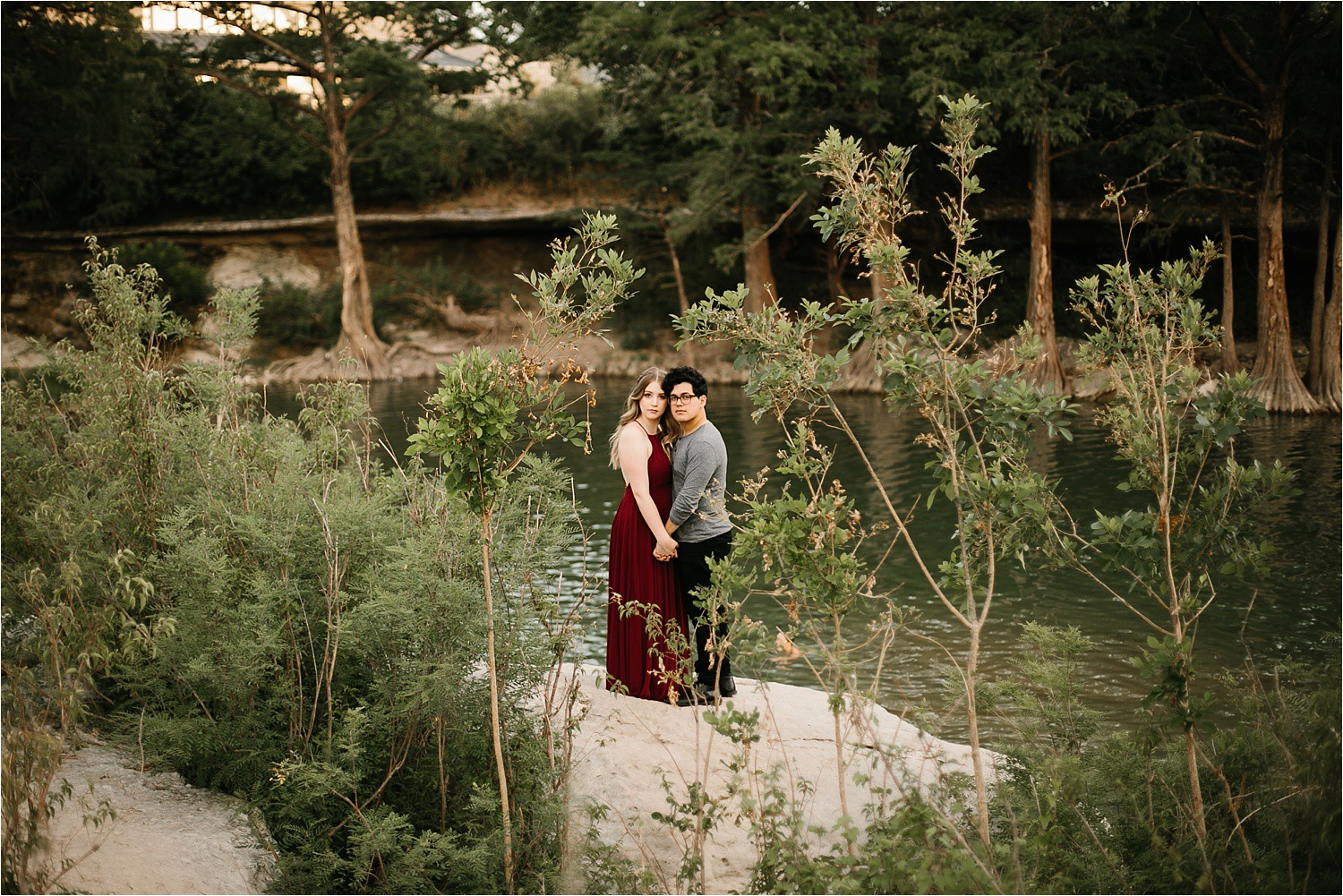 Romantic Austin, Texas Engagement Session with outfit inspiration + flowy red dress from Lulu's at Mckinney Falls State Park by North Texas Wedding Photographer, Rachel Meagan Photography __ 27