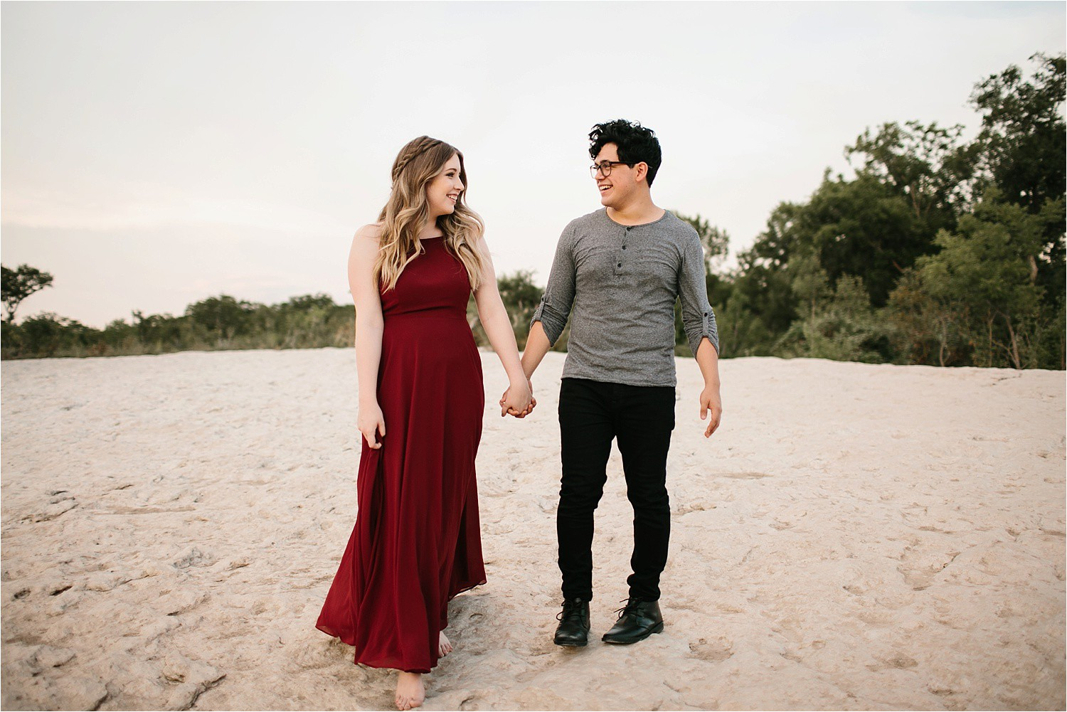 Romantic Austin, Texas Engagement Session with outfit inspiration + flowy red dress from Lulu's at Mckinney Falls State Park by North Texas Wedding Photographer, Rachel Meagan Photography __ 42