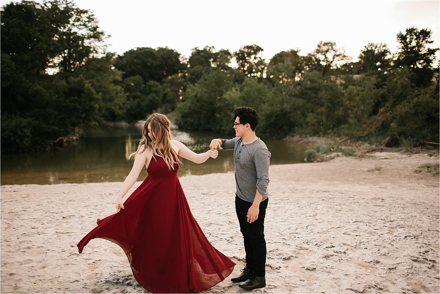 Austin Texas Engagement Session With Outfit Inspiration Flowy Red Dress From Lulu S At