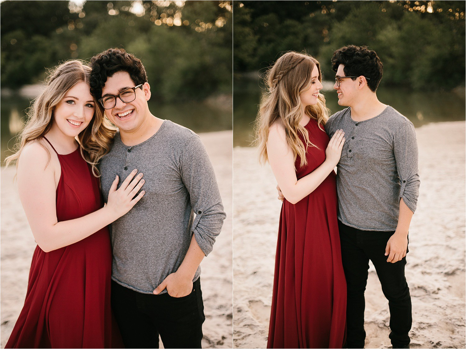Romantic Austin, Texas Engagement Session with outfit inspiration + flowy red dress from Lulu's at Mckinney Falls State Park by North Texas Wedding Photographer, Rachel Meagan Photography __ 48