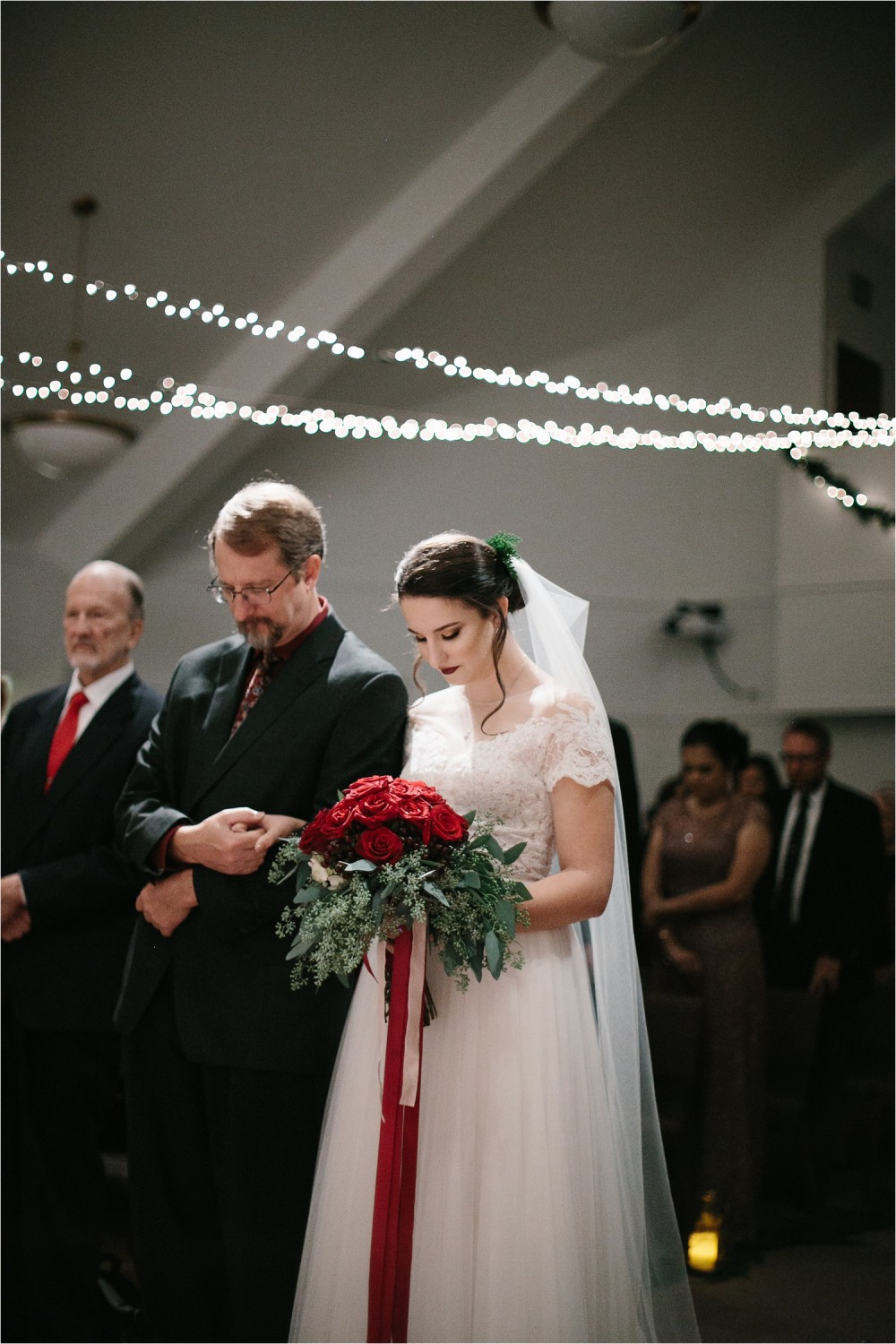 Alaina + Josh __ a wintertime wedding in Houston, TX with Christmas accents and a BHLDN dress by North Texas Wedding Photographer Rachel Meagan Photography _ 35