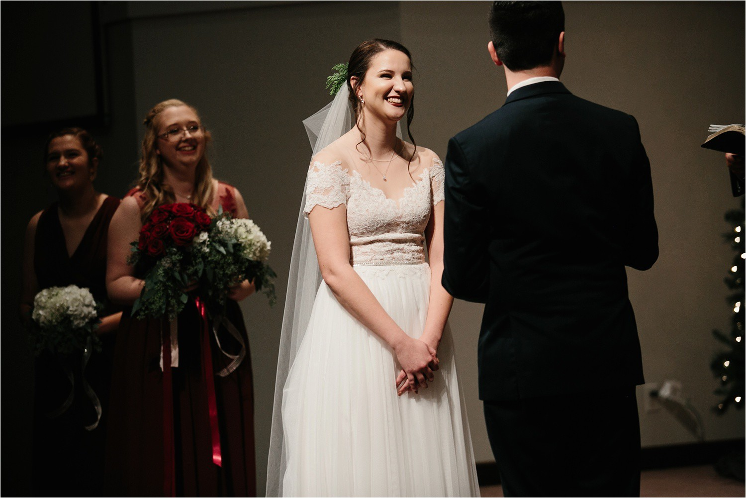 Alaina + Josh __ a wintertime wedding in Houston, TX with Christmas accents and a BHLDN dress by North Texas Wedding Photographer Rachel Meagan Photography _ 41