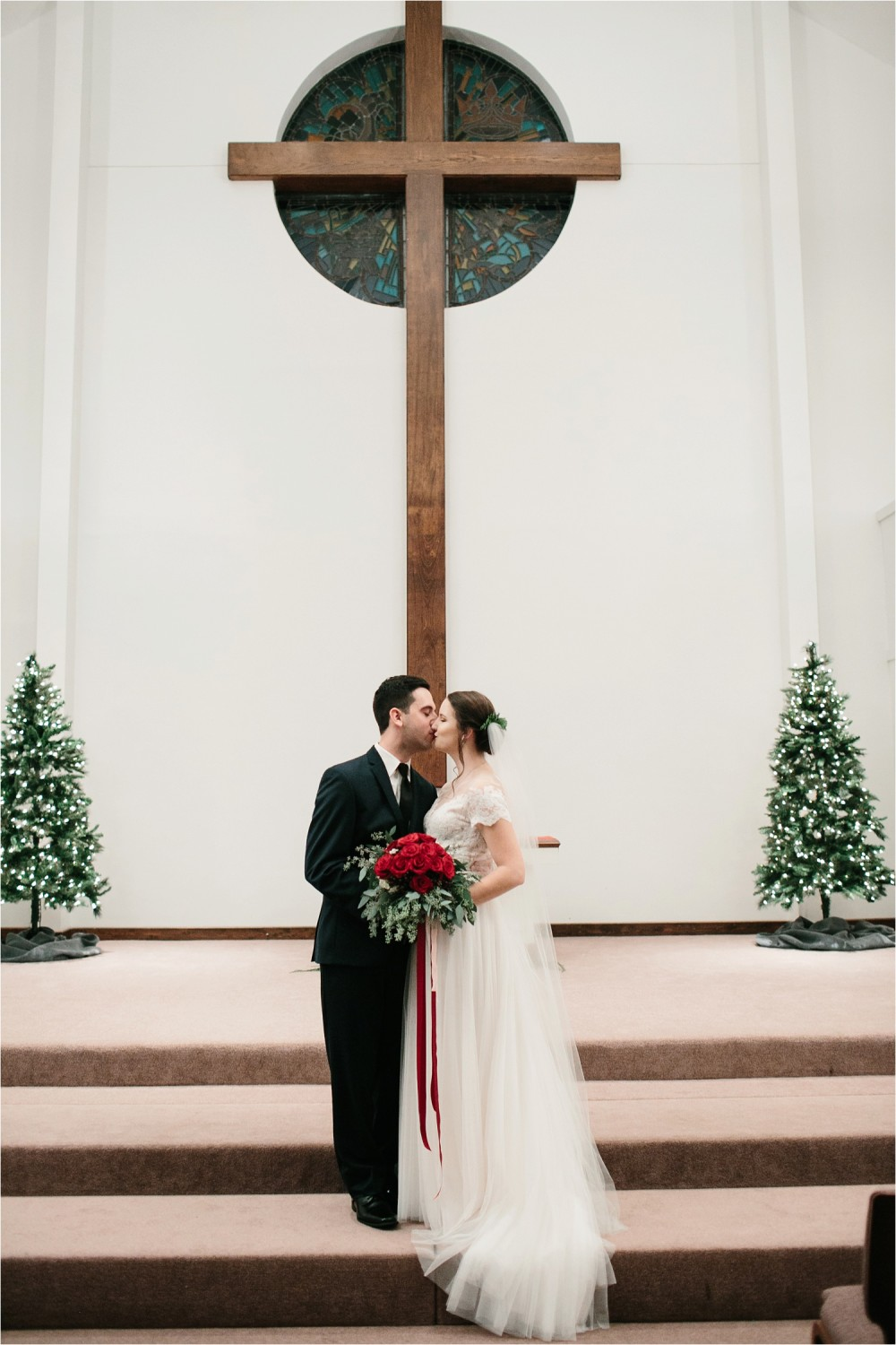 Alaina + Josh __ a wintertime wedding in Houston, TX with Christmas accents and a BHLDN dress by North Texas Wedding Photographer Rachel Meagan Photography _ 48