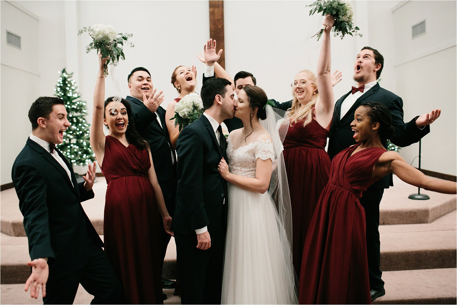 Alaina + Josh __ a wintertime wedding in Houston, TX with Christmas accents and a BHLDN dress by North Texas Wedding Photographer Rachel Meagan Photography _ 49