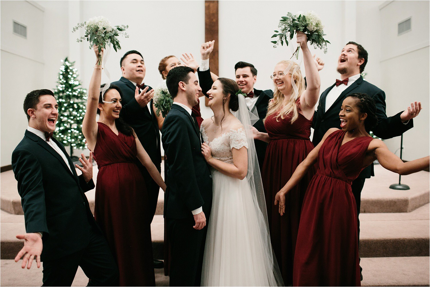 Alaina + Josh __ a wintertime wedding in Houston, TX with Christmas accents and a BHLDN dress by North Texas Wedding Photographer Rachel Meagan Photography _ 50