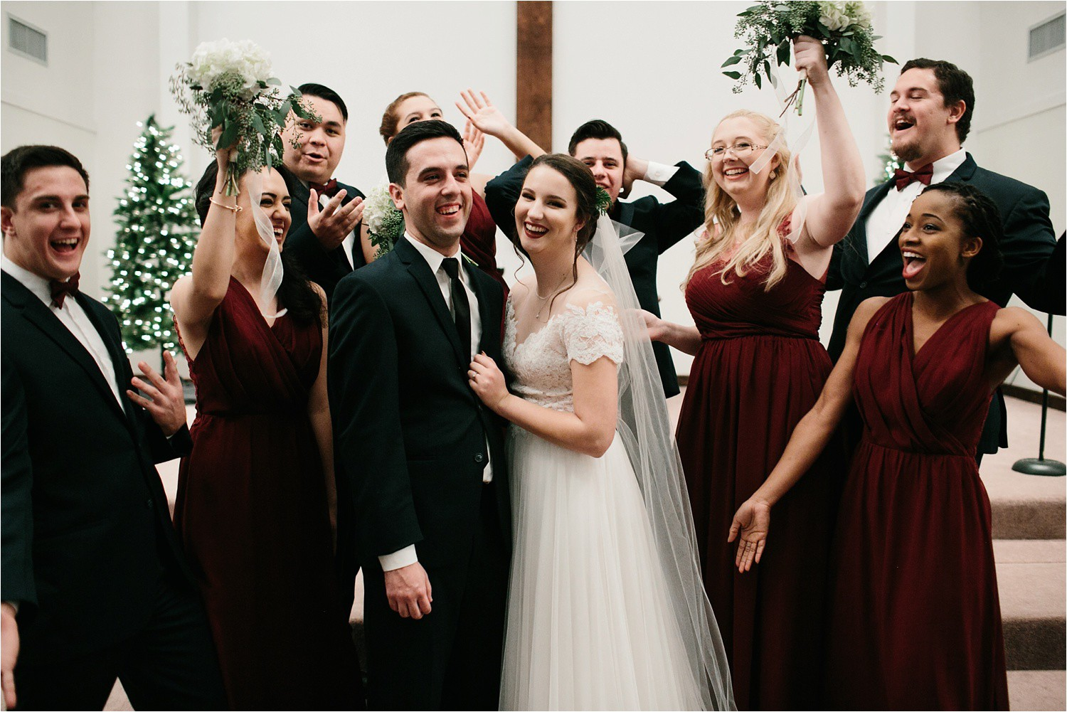 Alaina + Josh __ a wintertime wedding in Houston, TX with Christmas accents and a BHLDN dress by North Texas Wedding Photographer Rachel Meagan Photography _ 51