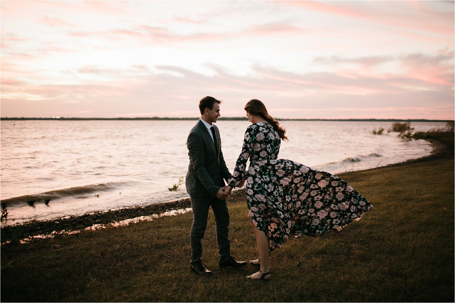 Aleta + Sabian __ a windy lakeside nature engagement session by North Texas Wedding Photographer Rachel Meagan Photography _59
