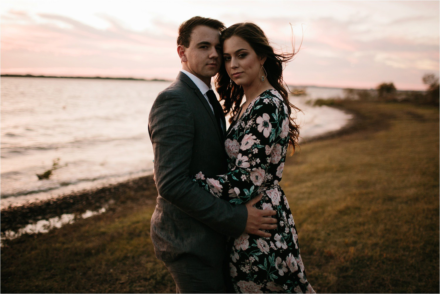 Aleta + Sabian __ a windy lakeside nature engagement session by North Texas Wedding Photographer Rachel Meagan Photography _63
