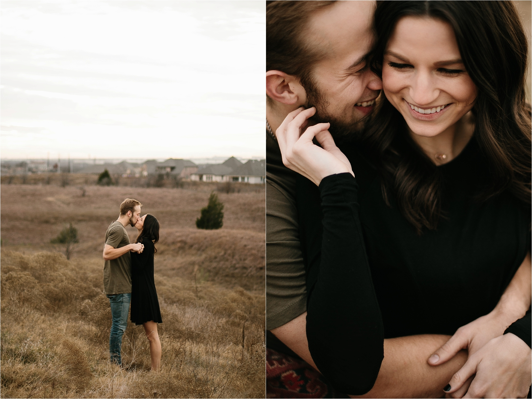 Trey + Phoebe __ a playful, intimate engagement session with dark_neutral outfit inspiration by North Texas Wedding Photographer Rachel Meagan Photography __ 05