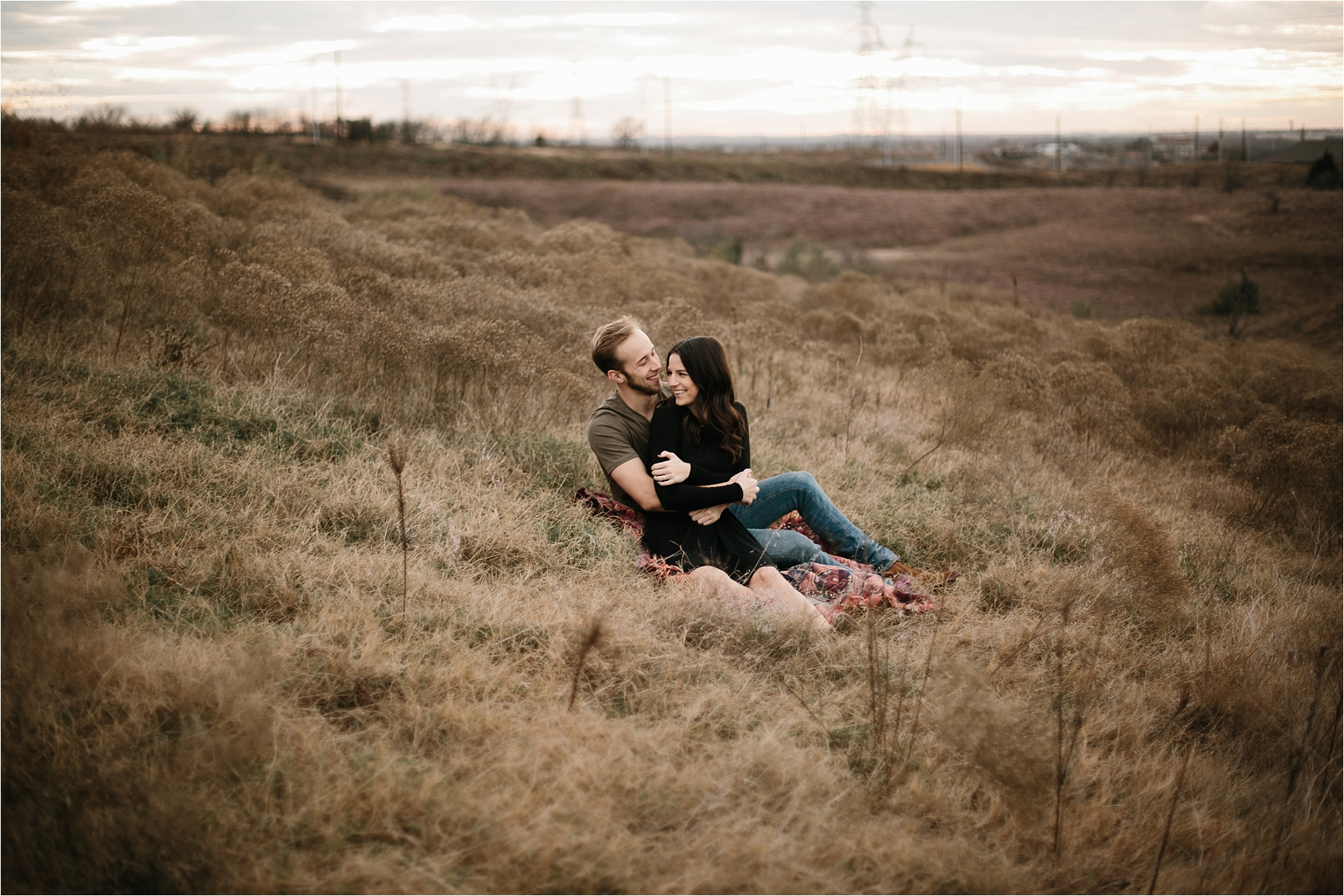 Trey + Phoebe __ a playful, intimate engagement session with dark_neutral outfit inspiration by North Texas Wedding Photographer Rachel Meagan Photography __ 06