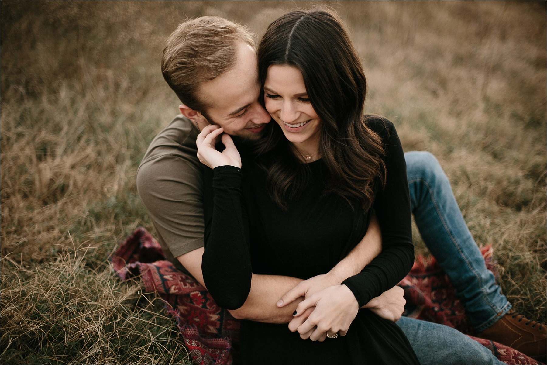 Trey + Phoebe __ a playful, intimate engagement session with dark_neutral outfit inspiration by North Texas Wedding Photographer Rachel Meagan Photography __ 08