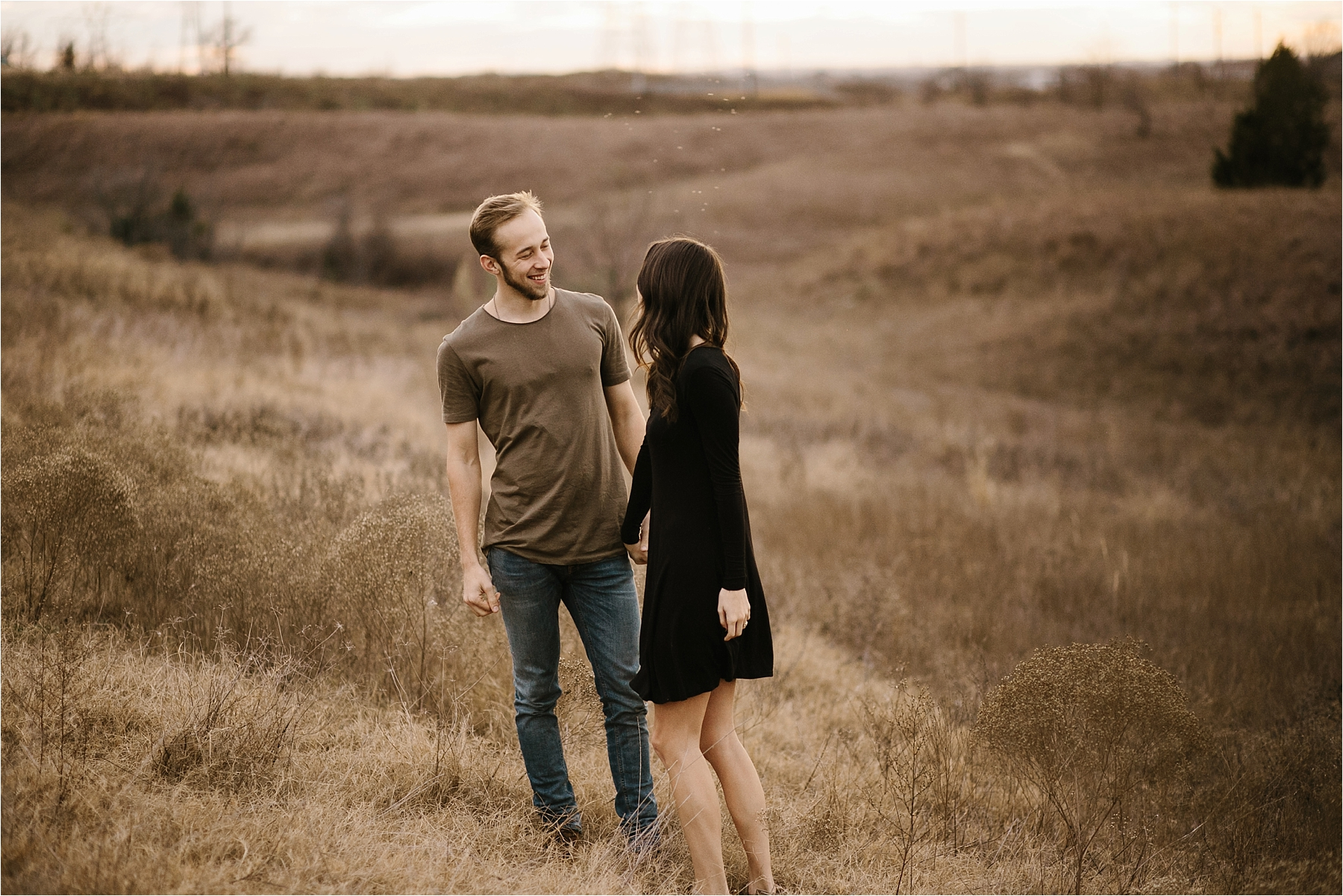 Trey + Phoebe __ a playful, intimate engagement session with dark_neutral outfit inspiration by North Texas Wedding Photographer Rachel Meagan Photography __ 14