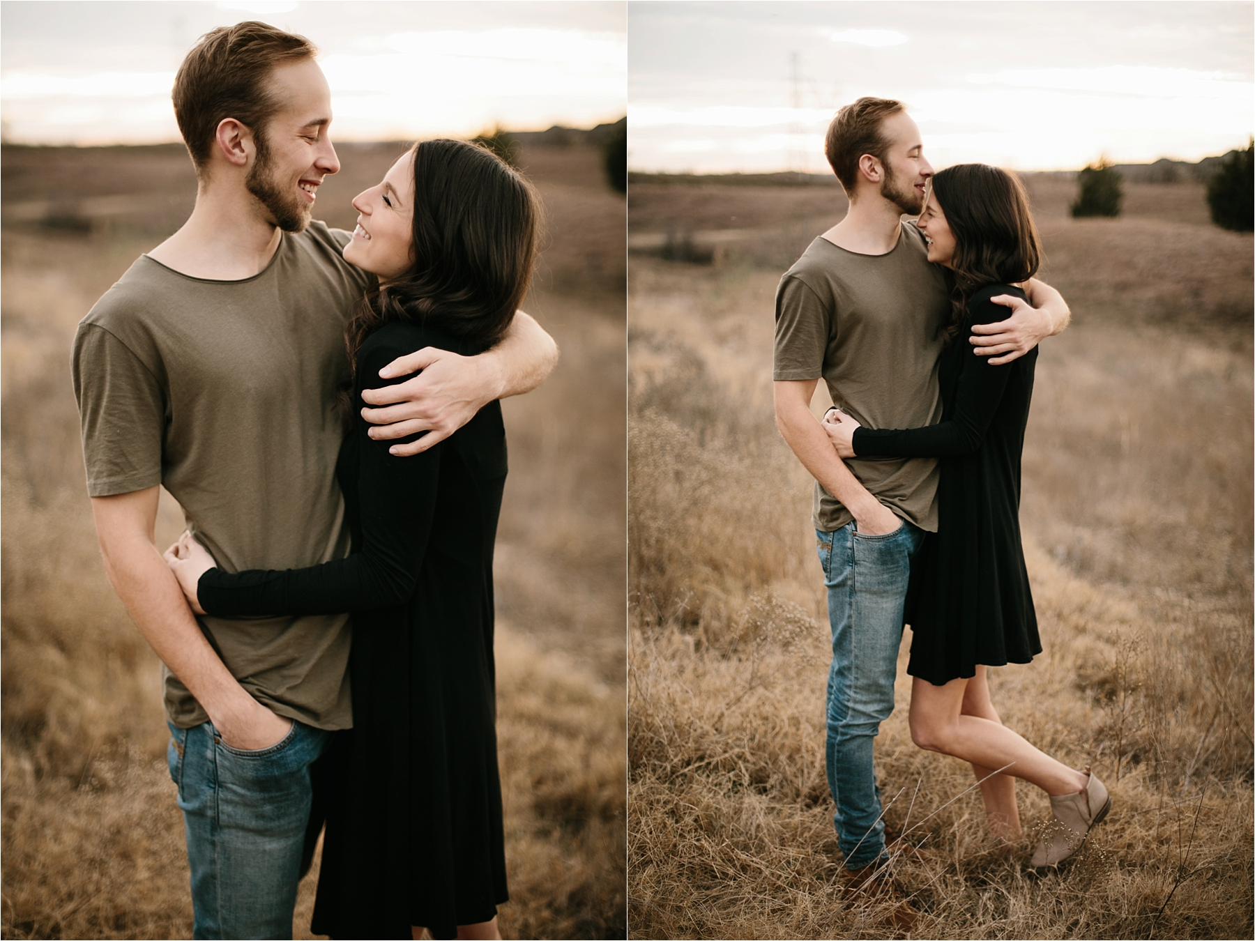 Trey + Phoebe __ a playful, intimate engagement session with dark_neutral outfit inspiration by North Texas Wedding Photographer Rachel Meagan Photography __ 20