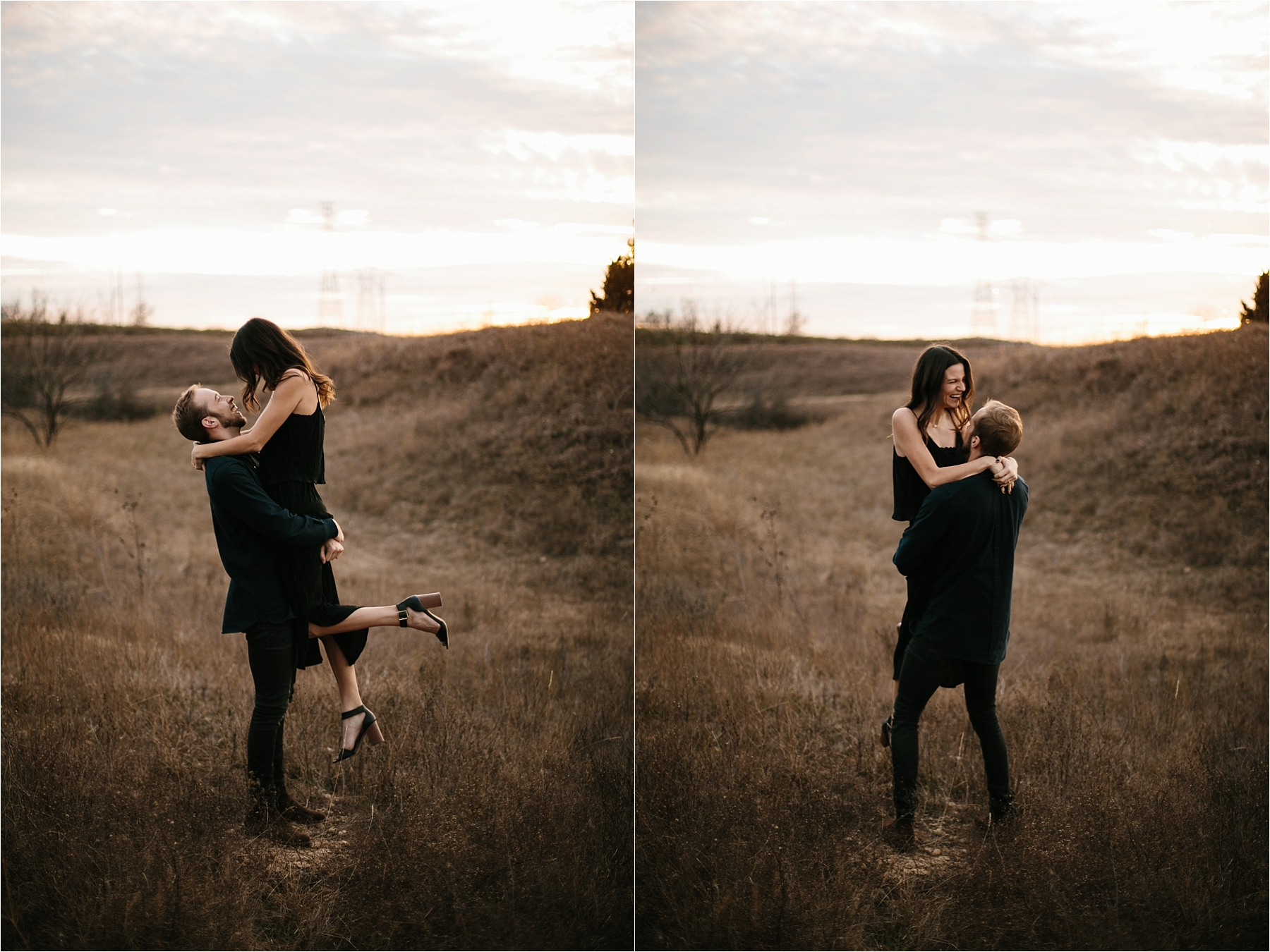Trey + Phoebe __ a playful, intimate engagement session with dark_neutral outfit inspiration by North Texas Wedding Photographer Rachel Meagan Photography __ 36