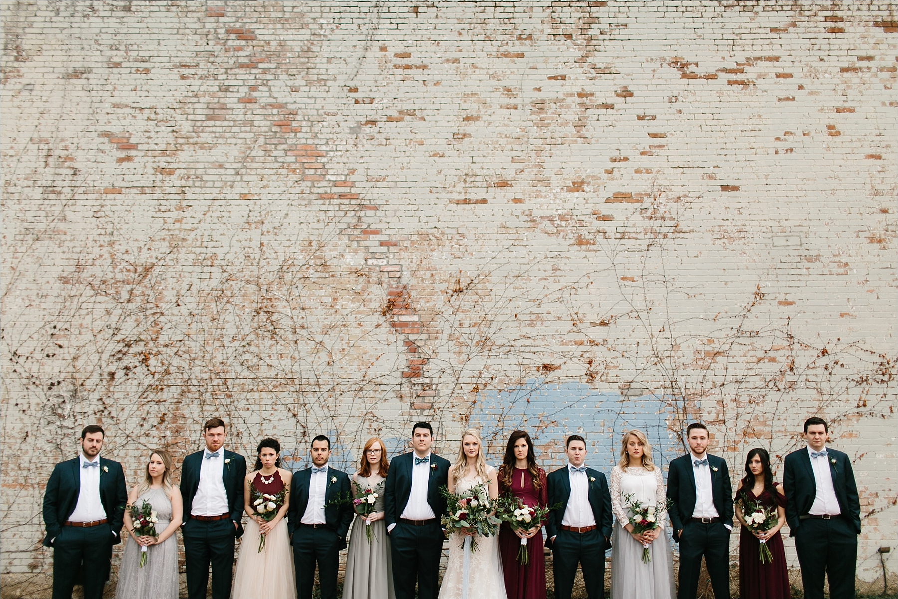 an organic, romantic, whimsical wedding at Brik Venue with Blue Grey, Burgandy, and pops of navy gold + white accents by North Texas Wedding Photographer Rachel Meagan Photography __ 228