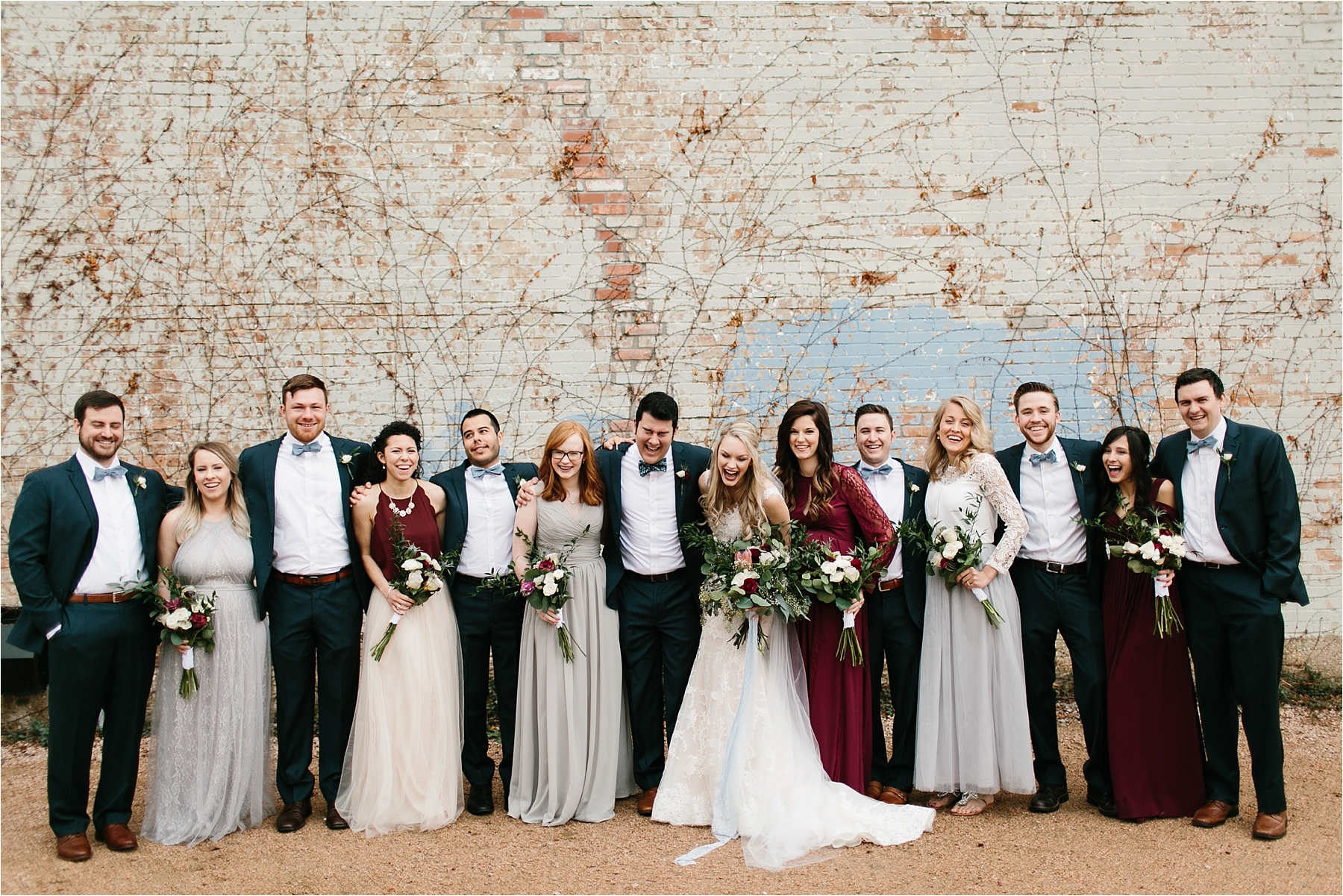 an organic, romantic, whimsical wedding at Brik Venue with Blue Grey, Burgandy, and pops of navy gold + white accents by North Texas Wedding Photographer Rachel Meagan Photography __ 229