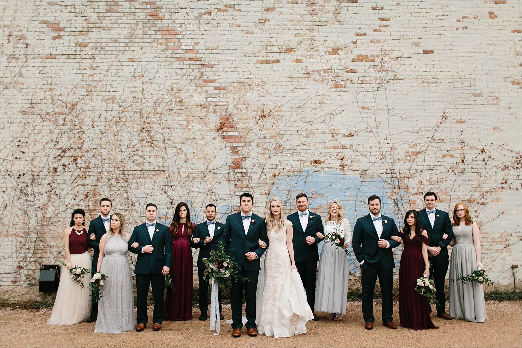 an organic, romantic, whimsical wedding at Brik Venue with Blue Grey, Burgandy, and pops of navy gold + white accents by North Texas Wedding Photographer Rachel Meagan Photography __ 230