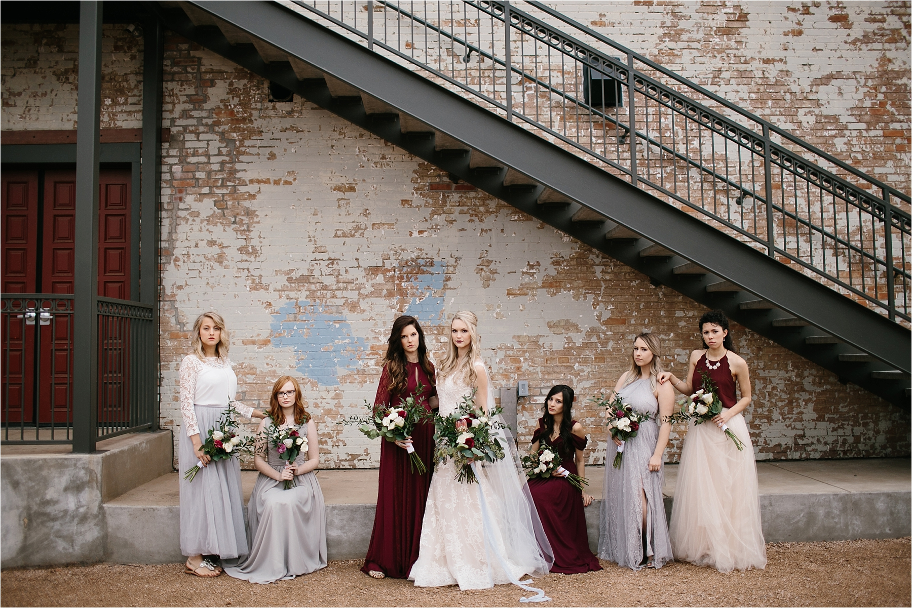 an organic, romantic, whimsical wedding at Brik Venue with Blue Grey, Burgandy, and pops of navy gold + white accents by North Texas Wedding Photographer Rachel Meagan Photography __ 242