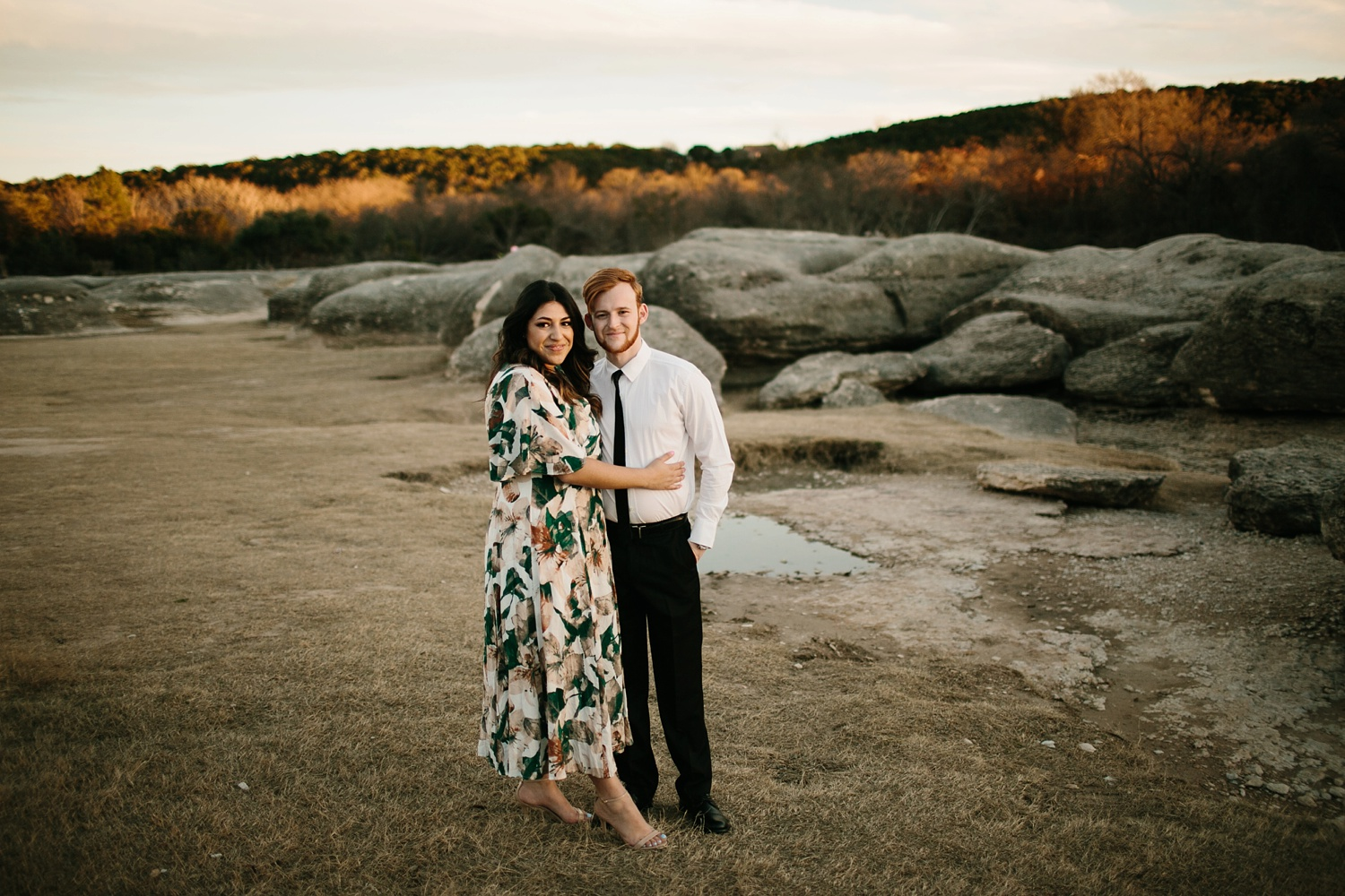 Grant + Lysette - floral dress engagement session by North Texas Wedding Photographer Rachel Meagan Photography077