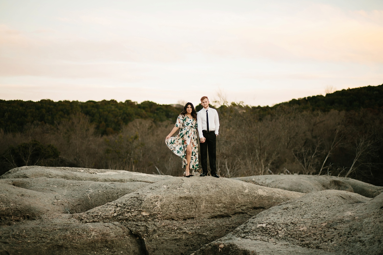 Grant + Lysette - floral dress engagement session by North Texas Wedding Photographer Rachel Meagan Photography087
