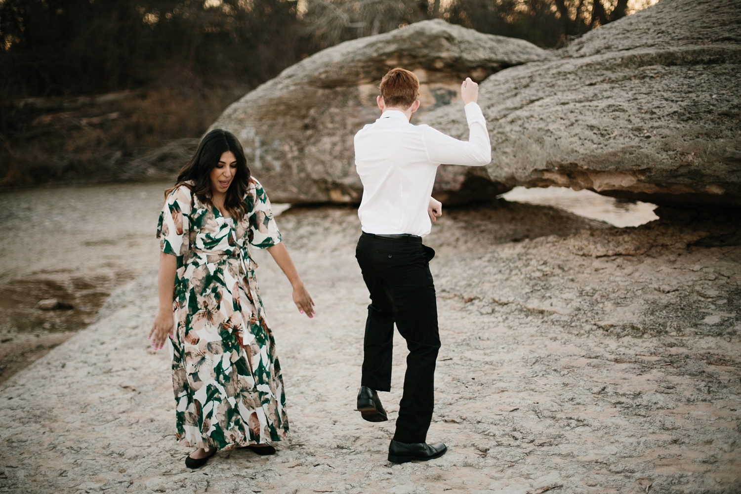 Grant + Lysette - floral dress engagement session by North Texas Wedding Photographer Rachel Meagan Photography089