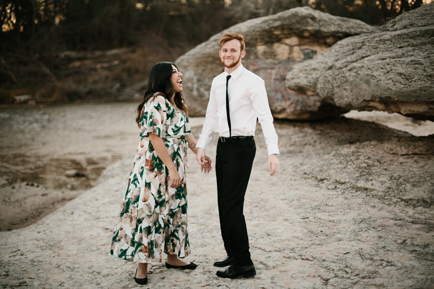 Grant + Lysette - floral dress engagement session by North Texas Wedding Photographer Rachel Meagan Photography090
