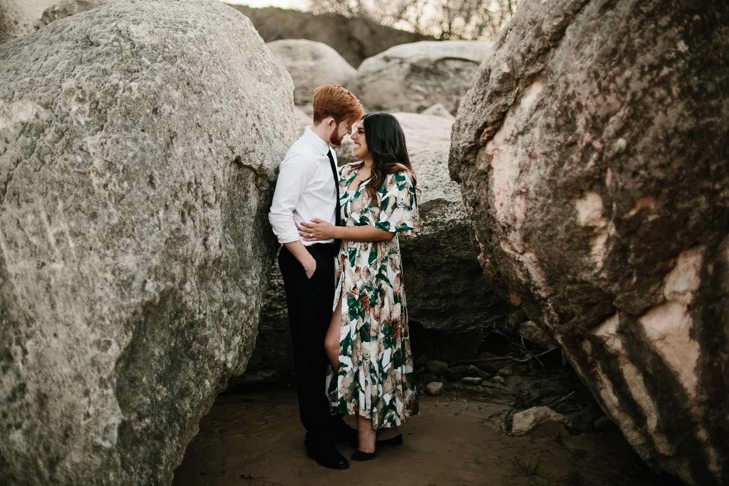 Grant + Lysette - floral dress engagement session by North Texas Wedding Photographer Rachel Meagan Photography093