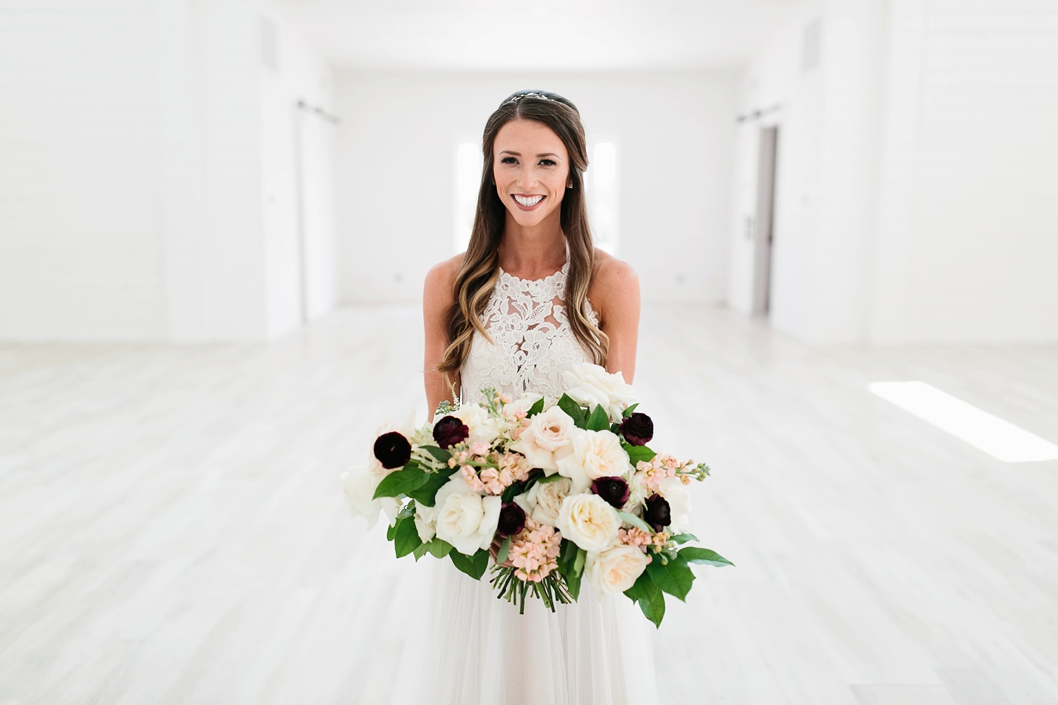 an all white minimialist style bridal session with burgundy and blush accents at The Nest at Ruth Farms in Ponder, Texas by North Texas Wedding Photographer Rachel Meagan Photography005
