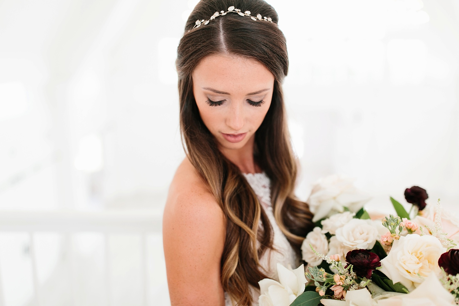 an all white minimialist style bridal session with burgundy and blush accents at The Nest at Ruth Farms in Ponder, Texas by North Texas Wedding Photographer Rachel Meagan Photography037