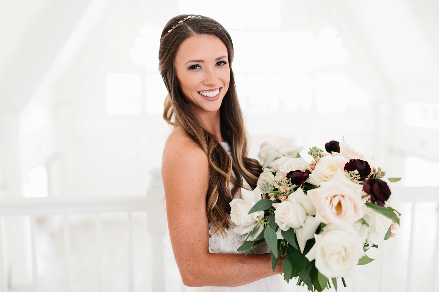 an all white minimialist style bridal session with burgundy and blush accents at The Nest at Ruth Farms in Ponder, Texas by North Texas Wedding Photographer Rachel Meagan Photography039