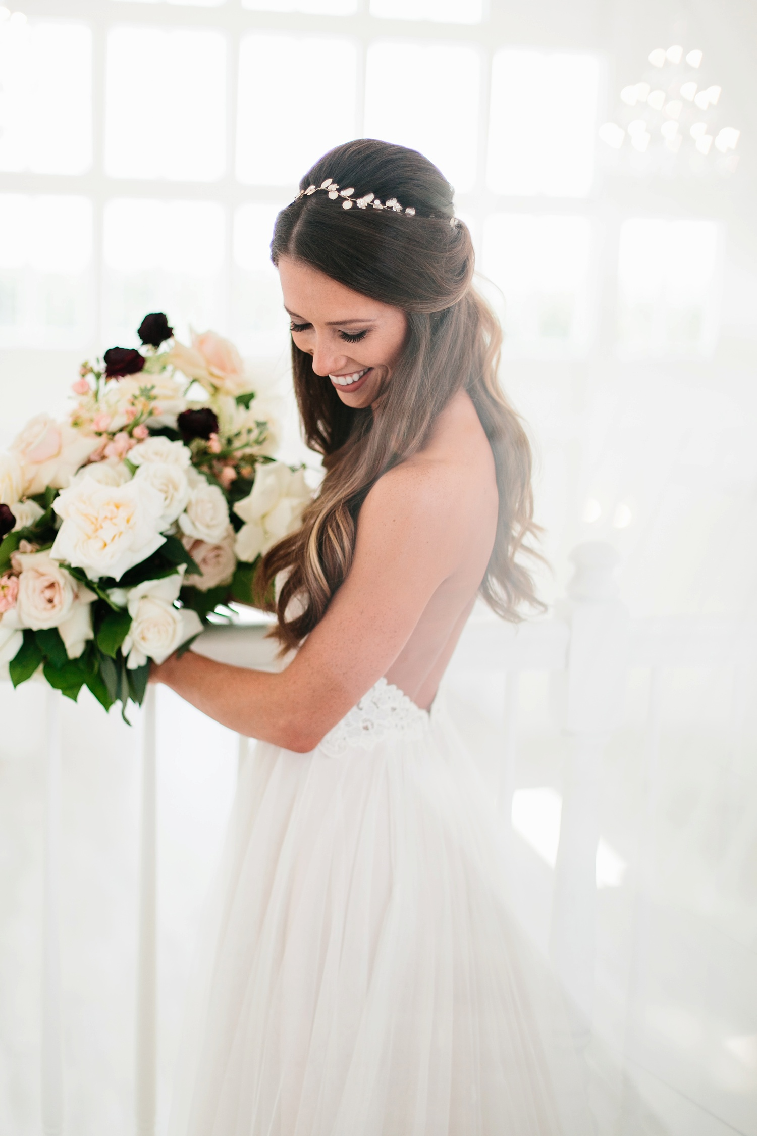 an all white minimialist style bridal session with burgundy and blush accents at The Nest at Ruth Farms in Ponder, Texas by North Texas Wedding Photographer Rachel Meagan Photography044