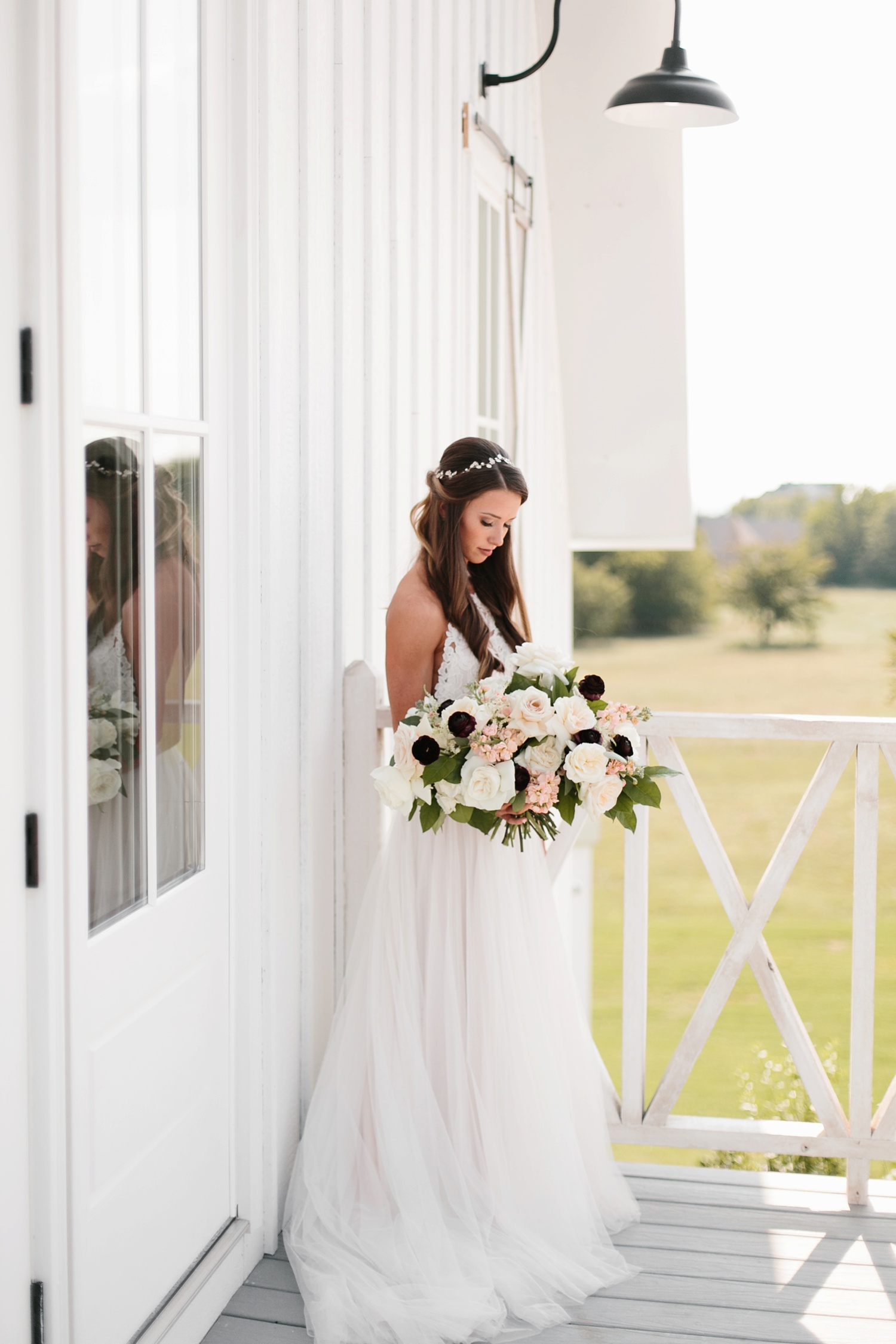 an all white minimialist style bridal session with burgundy and blush accents at The Nest at Ruth Farms in Ponder, Texas by North Texas Wedding Photographer Rachel Meagan Photography077