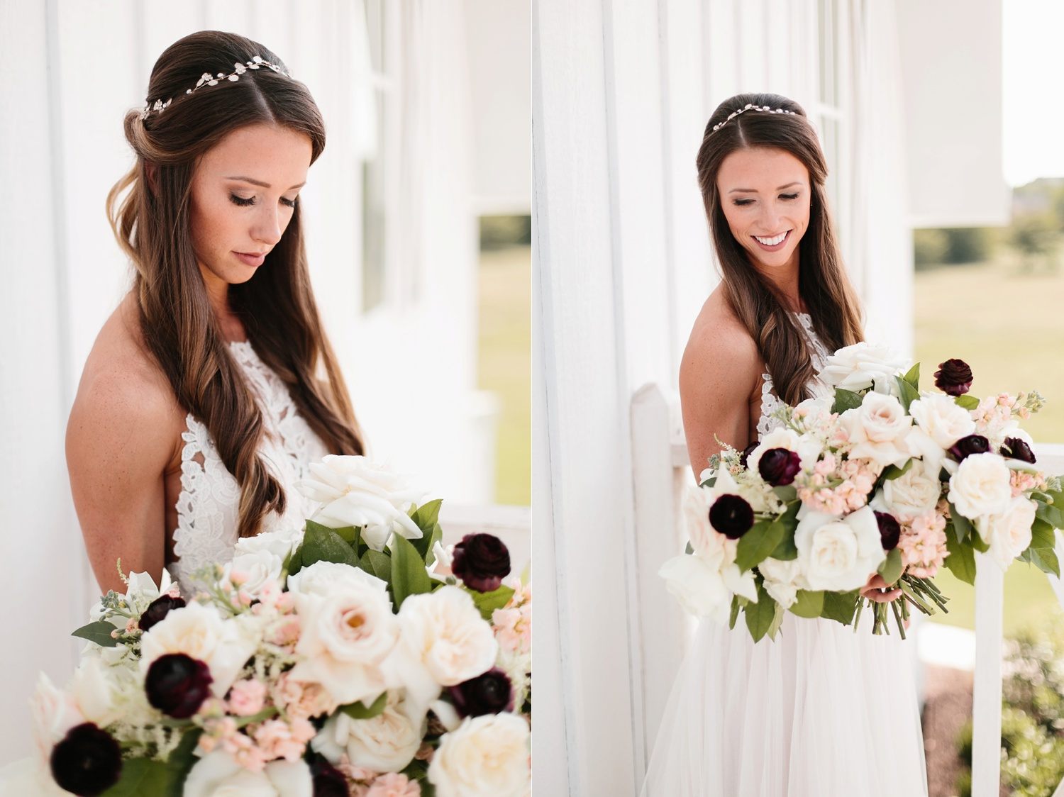an all white minimialist style bridal session with burgundy and blush accents at The Nest at Ruth Farms in Ponder, Texas by North Texas Wedding Photographer Rachel Meagan Photography079