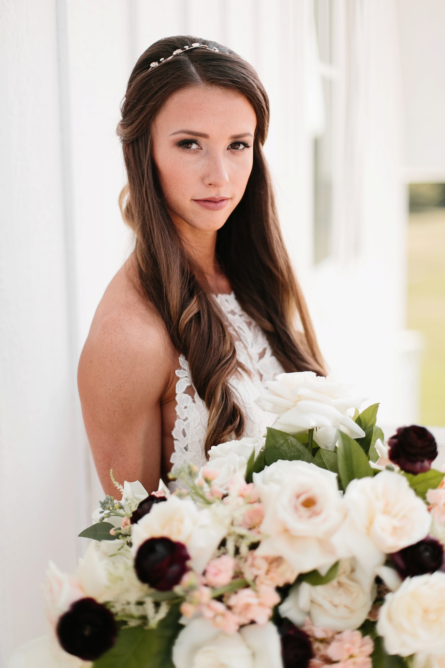 an all white minimialist style bridal session with burgundy and blush accents at The Nest at Ruth Farms in Ponder, Texas by North Texas Wedding Photographer Rachel Meagan Photography080