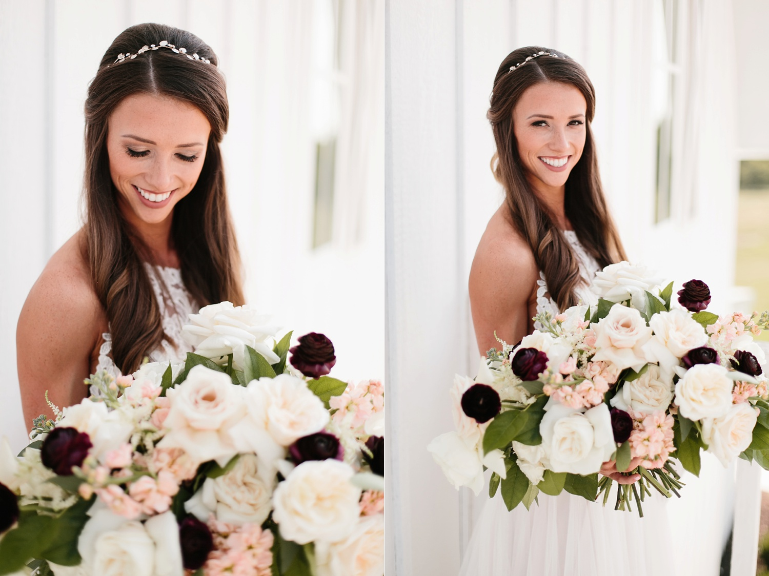 an all white minimialist style bridal session with burgundy and blush accents at The Nest at Ruth Farms in Ponder, Texas by North Texas Wedding Photographer Rachel Meagan Photography081