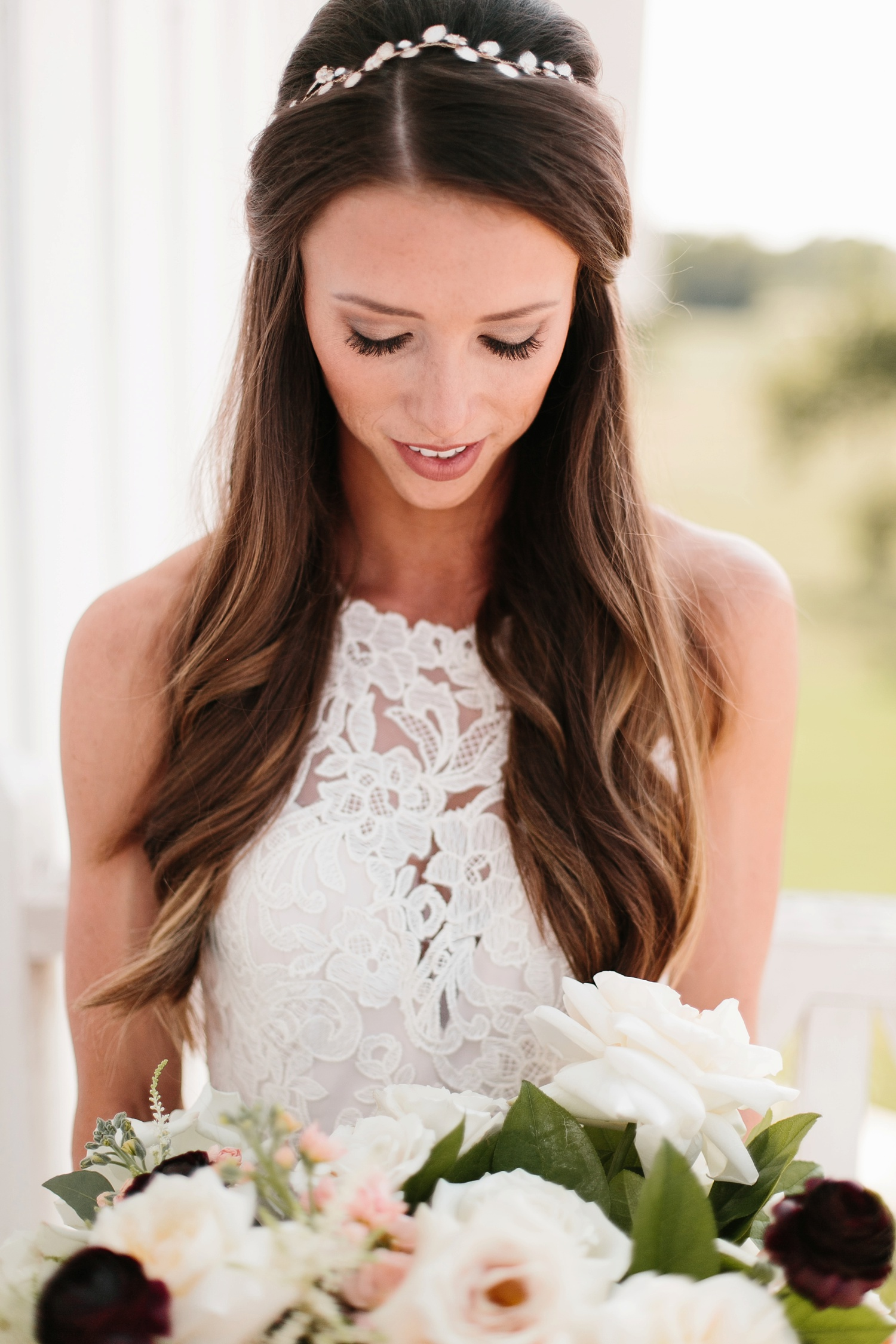 an all white minimialist style bridal session with burgundy and blush accents at The Nest at Ruth Farms in Ponder, Texas by North Texas Wedding Photographer Rachel Meagan Photography082