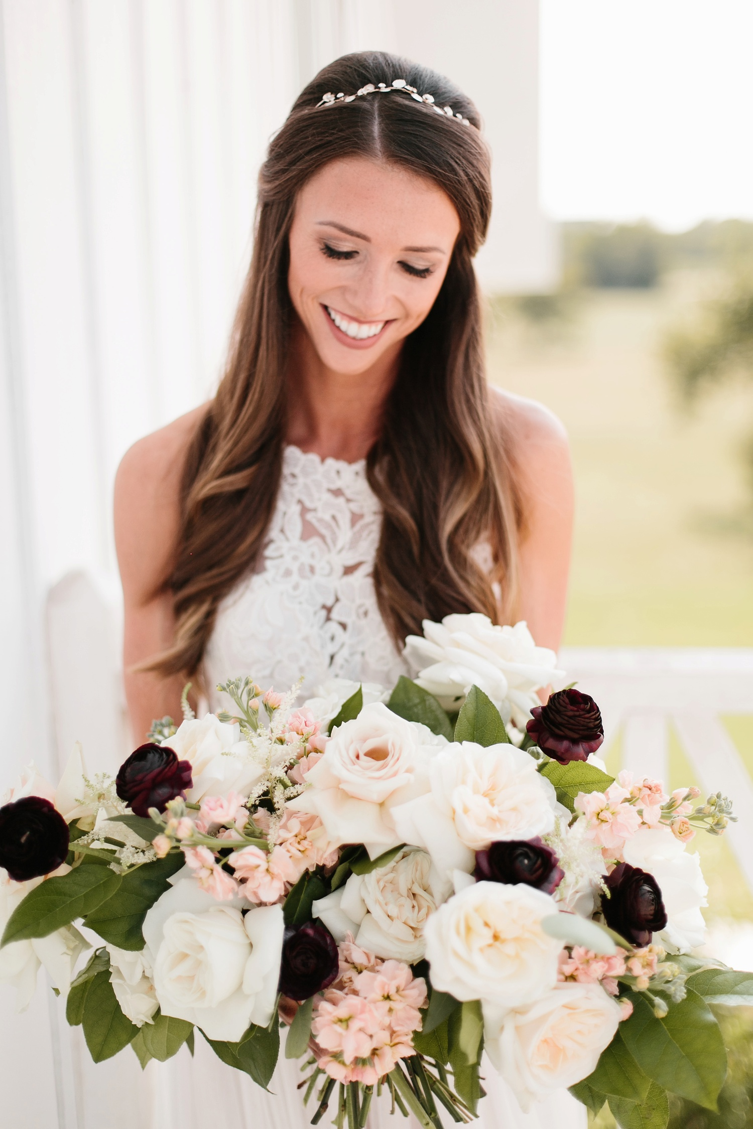 an all white minimialist style bridal session with burgundy and blush accents at The Nest at Ruth Farms in Ponder, Texas by North Texas Wedding Photographer Rachel Meagan Photography084