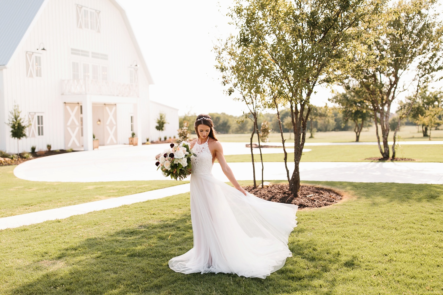 an all white minimialist style bridal session with burgundy and blush accents at The Nest at Ruth Farms in Ponder, Texas by North Texas Wedding Photographer Rachel Meagan Photography134