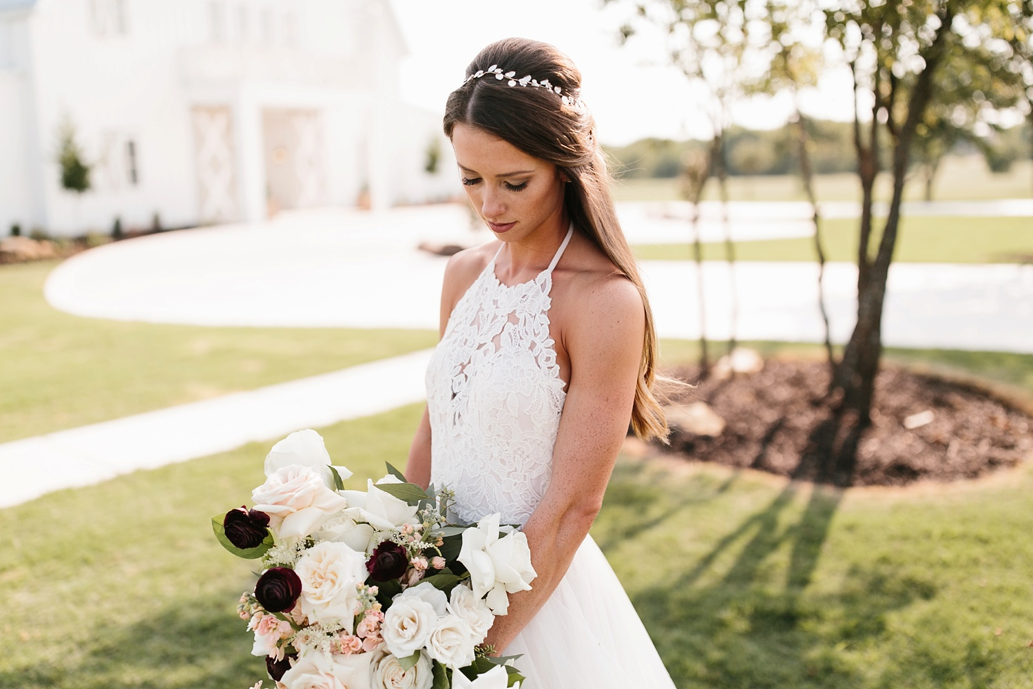 an all white minimialist style bridal session with burgundy and blush accents at The Nest at Ruth Farms in Ponder, Texas by North Texas Wedding Photographer Rachel Meagan Photography137