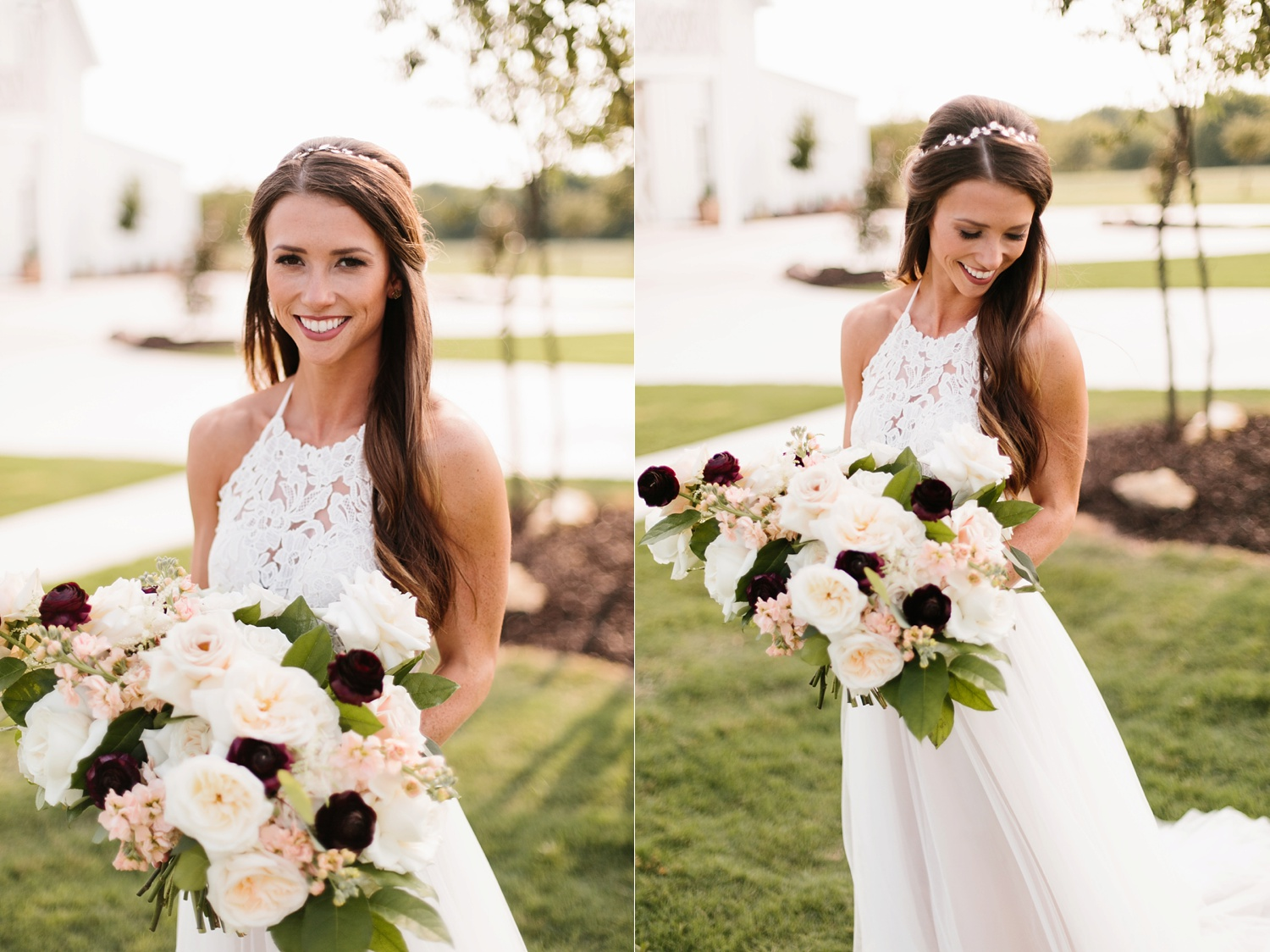 an all white minimialist style bridal session with burgundy and blush accents at The Nest at Ruth Farms in Ponder, Texas by North Texas Wedding Photographer Rachel Meagan Photography140