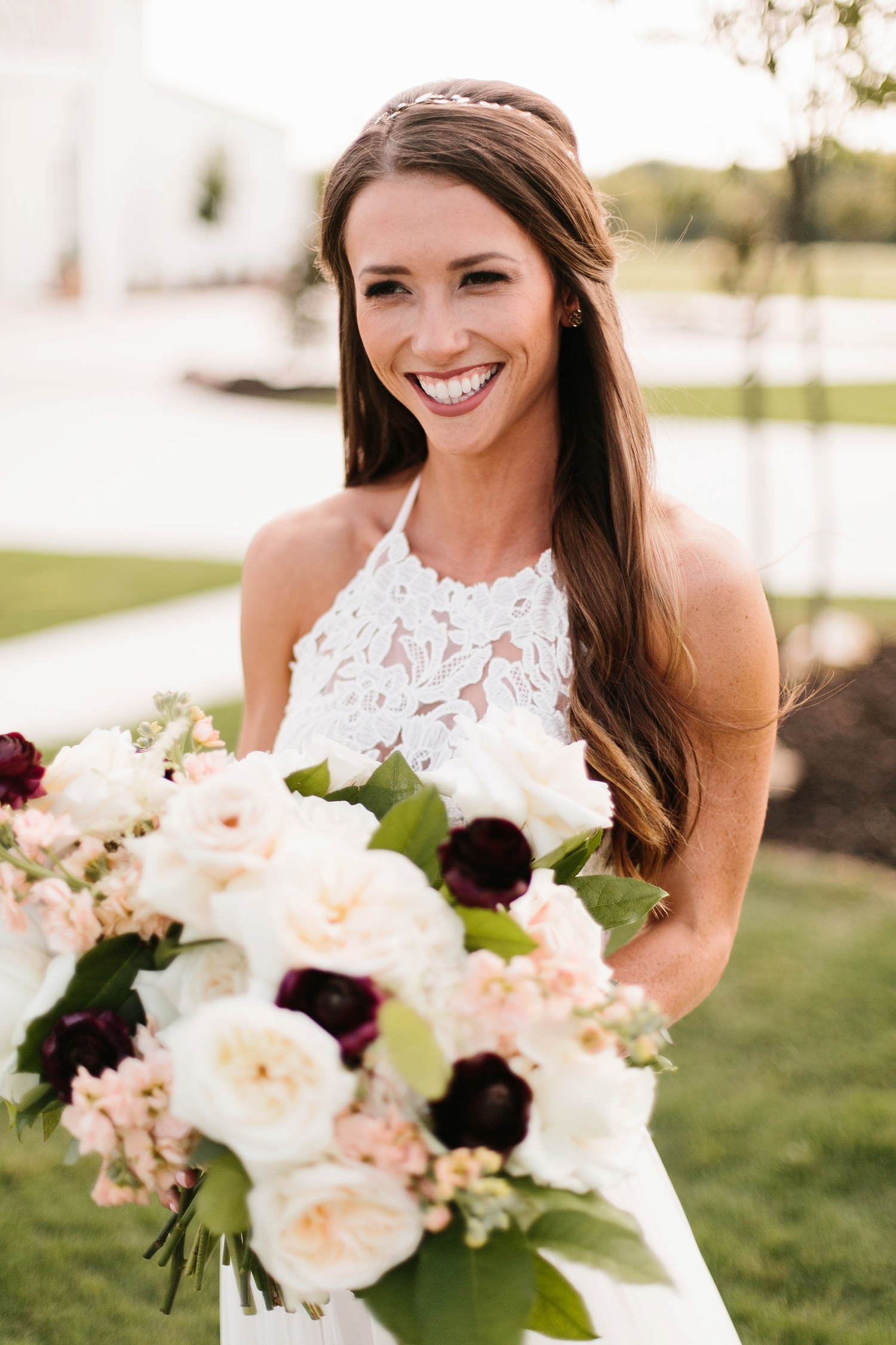 an all white minimialist style bridal session with burgundy and blush accents at The Nest at Ruth Farms in Ponder, Texas by North Texas Wedding Photographer Rachel Meagan Photography141