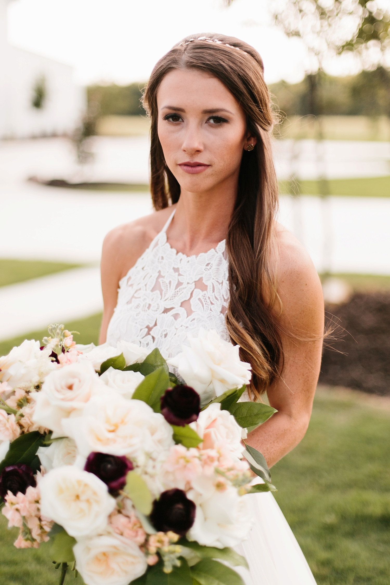 an all white minimialist style bridal session with burgundy and blush accents at The Nest at Ruth Farms in Ponder, Texas by North Texas Wedding Photographer Rachel Meagan Photography142
