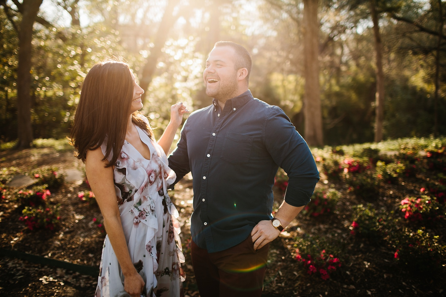 Kadee + Tyler _ a forest and city skyline engagement shoot in Dallas by North Texas Wedding Photographer Rachel Meagan Photography_04