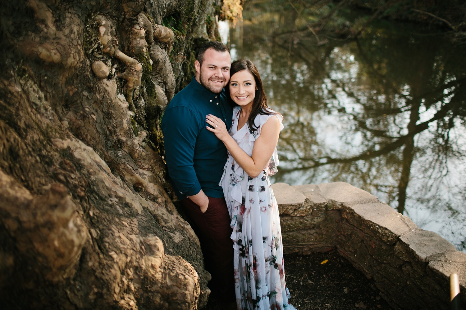 Kadee + Tyler _ a forest and city skyline engagement shoot in Dallas by North Texas Wedding Photographer Rachel Meagan Photography_10