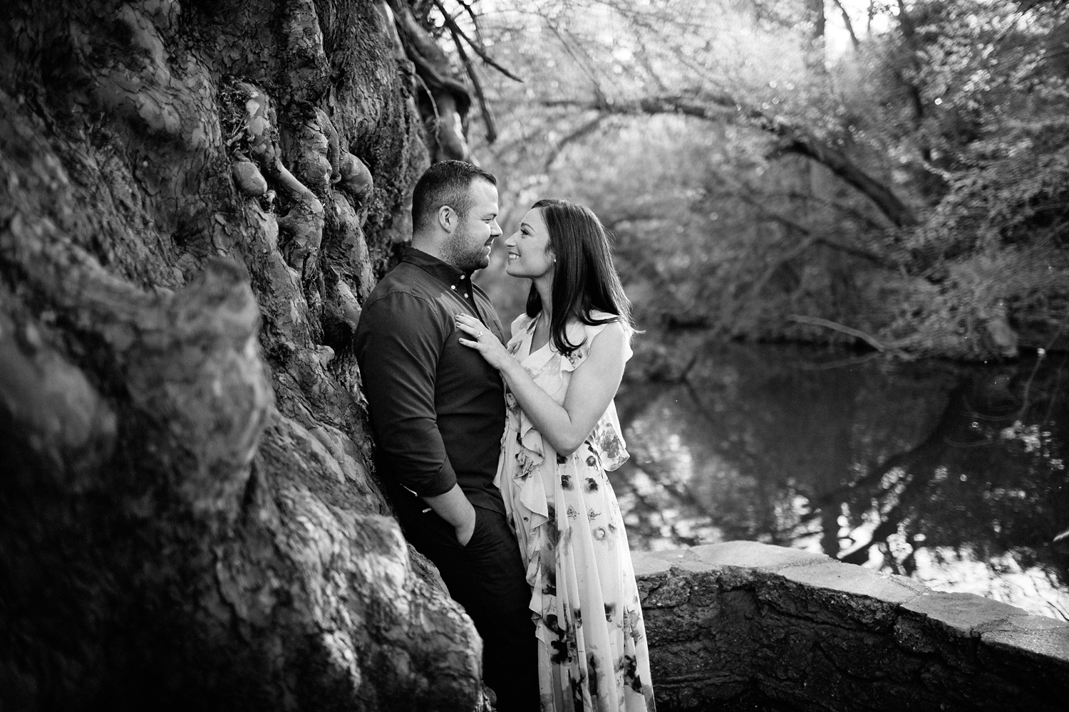 Kadee + Tyler _ a forest and city skyline engagement shoot in Dallas by North Texas Wedding Photographer Rachel Meagan Photography_11