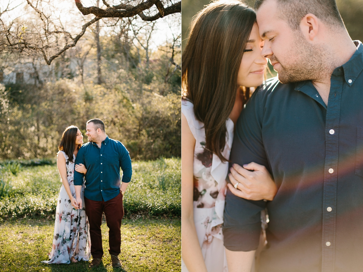 Kadee + Tyler _ a forest and city skyline engagement shoot in Dallas by North Texas Wedding Photographer Rachel Meagan Photography_16
