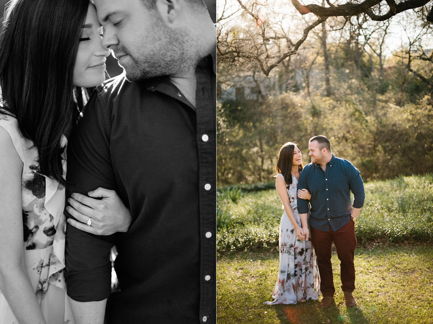 Kadee + Tyler _ a forest and city skyline engagement shoot in Dallas by North Texas Wedding Photographer Rachel Meagan Photography_17