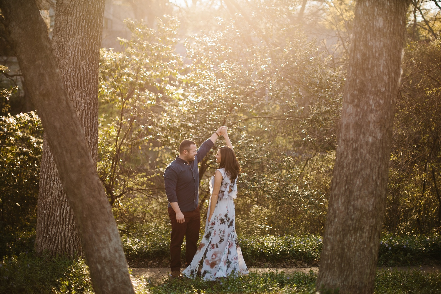 Kadee + Tyler _ a forest and city skyline engagement shoot in Dallas by North Texas Wedding Photographer Rachel Meagan Photography_19